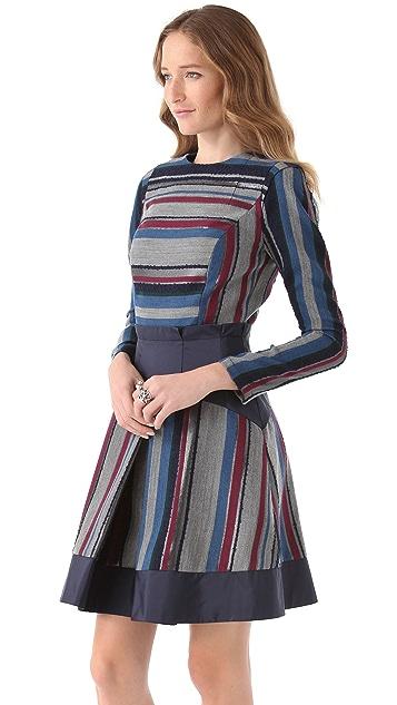 Richard Chai Love Wide Pleat Dress with Taffeta