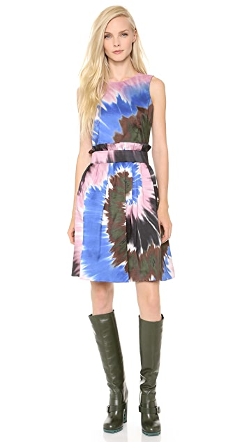 Rodarte Tie Dye Silk Belted Dress