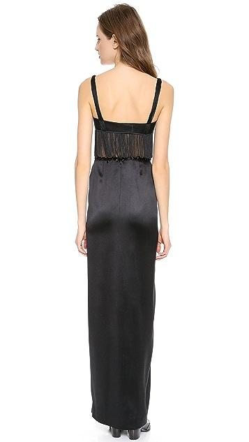 Rodarte Silk & Fringe Gown
