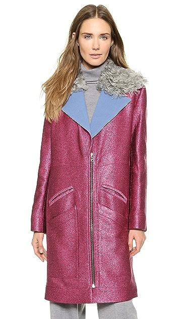 Rodarte Glitter Coat with Shearling Collar