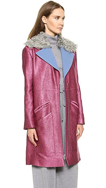 Rodarte Glitter Coat with Shearling Collar