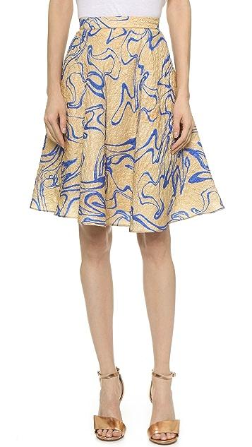Rodarte Silk Cloque Flare Skirt
