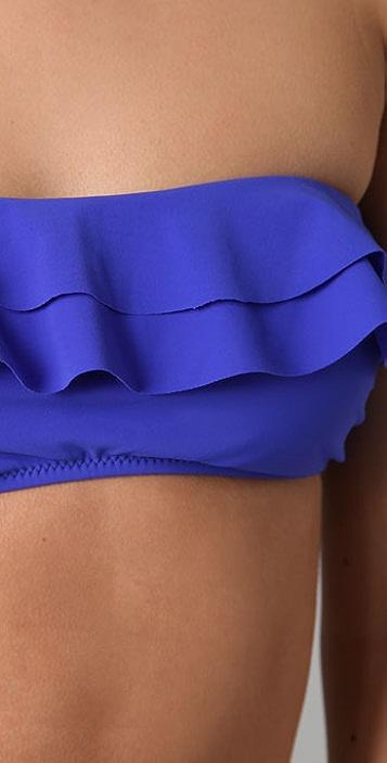 Red Carter Ruffle Bikini Top