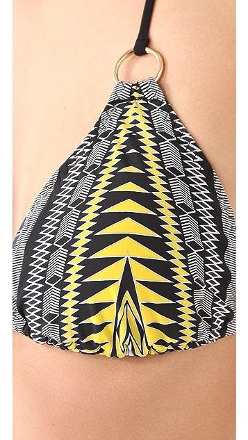 Red Carter Azteca Triangle Bikini Top