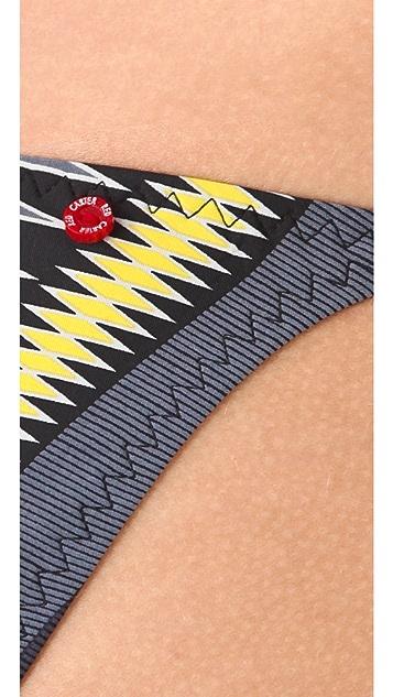 Red Carter Azteca String Bikini Bottoms