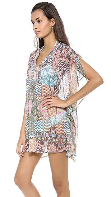 Red Carter Ethnic Patch Poncho Cover Up