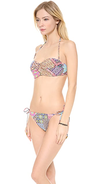 Red Carter Patch Twisted Bandeau Bra Bikini Top