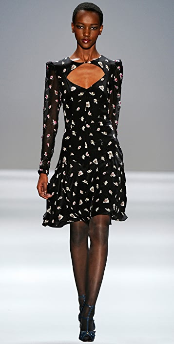 Rebecca Taylor Ghost Flower Print Ruffle Dress