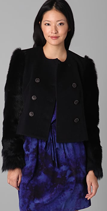 Rebecca Taylor Button Front Coat with Fur Sleeves