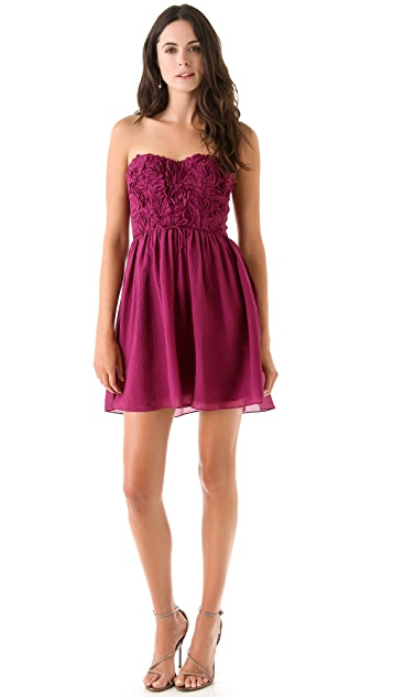 Rebecca Taylor Textured Rose Strapless Dress