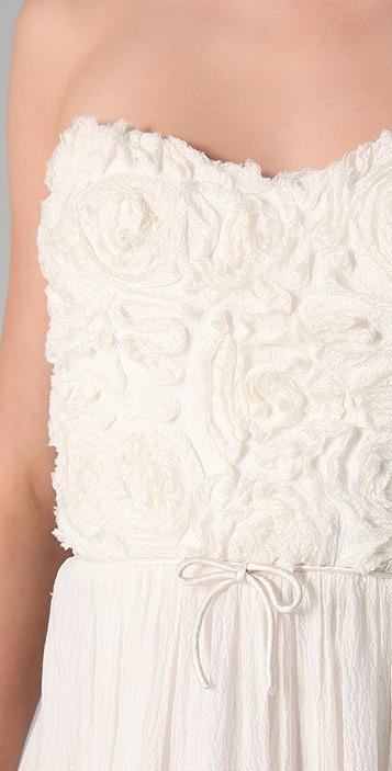 Rebecca Taylor Textured Rose Strapless Dress
