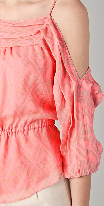 Rebecca Taylor Drop Shoulder Tile Print Blouse