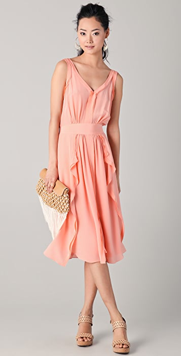 Rebecca Taylor V Neck Dress with Ruffle