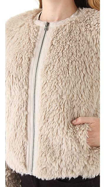 Rebecca Taylor Faux Fur Bomber Jacket