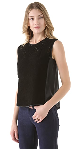 Rebecca Taylor Perforated Leather Top