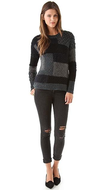 Rebecca Taylor Chunky Block Intarsia Sweater