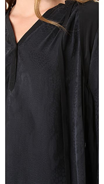 Rebecca Taylor Crocodile Pleated Back Blouse