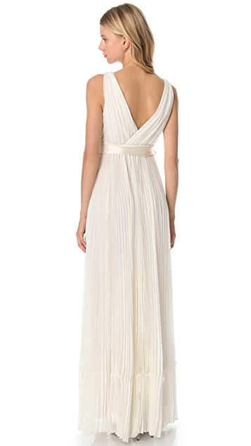 Rebecca Taylor Pleated V Neck Gown