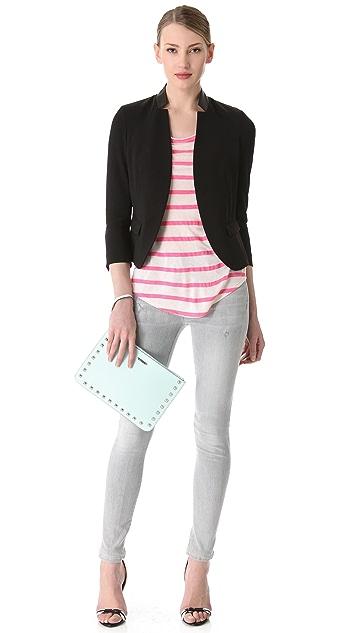 Rebecca Taylor Leather Trim Blazer