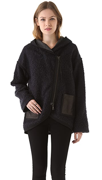 Rebecca Taylor Boucle Hooded Coat with Leather Trim