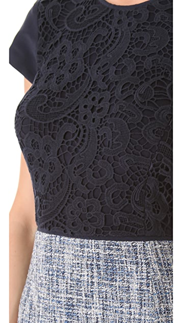 Rebecca Taylor Lace & Tweed Dress
