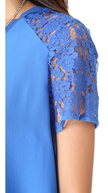 Rebecca Taylor Silk & Lace Tee