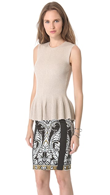 Rebecca Taylor Ribbed Peplum Top