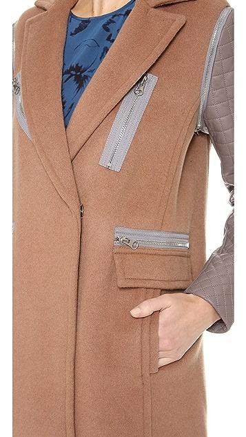 Rebecca Taylor Leather Sleeve Coat