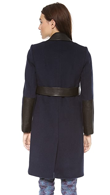 Rebecca Taylor Leather Trim Long Coat