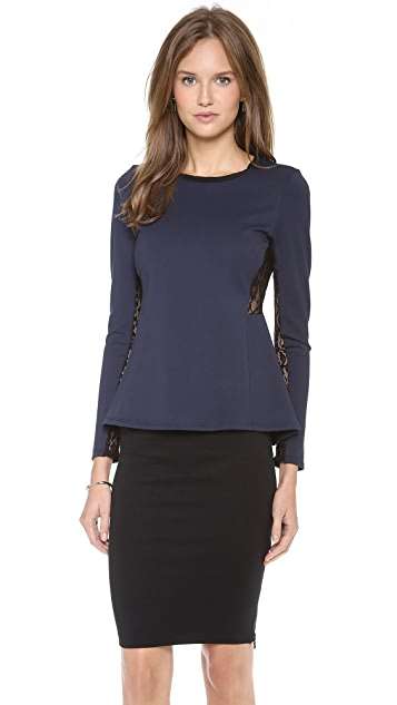 Rebecca Taylor Long Sleeve Peplum Top