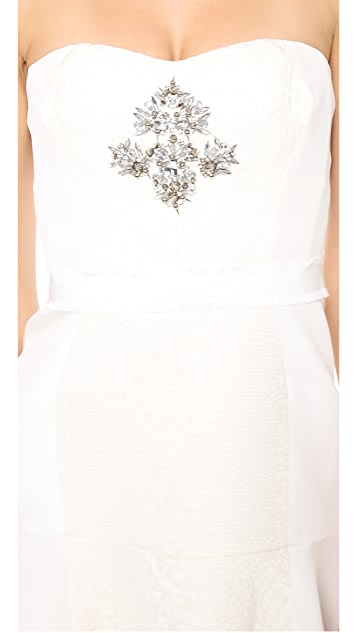 Rebecca Taylor Strapless Cloque Beaded Dress