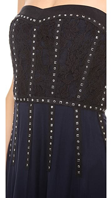 Rebecca Taylor Lace Inset Strapless Gown