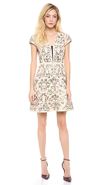 Rebecca Taylor Short Sleeve Scroll Embellished Dress