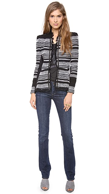 Rebecca Taylor Stripe Tweed Peplum Jacket