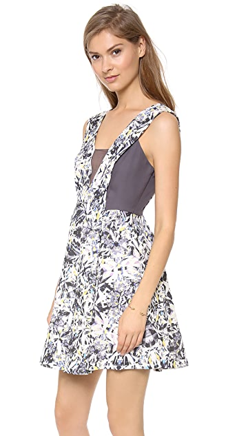 Rebecca Taylor Halter Dress with Chiffon Inset