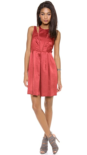 Rebecca Taylor Sleeveless Textured Satin Dress