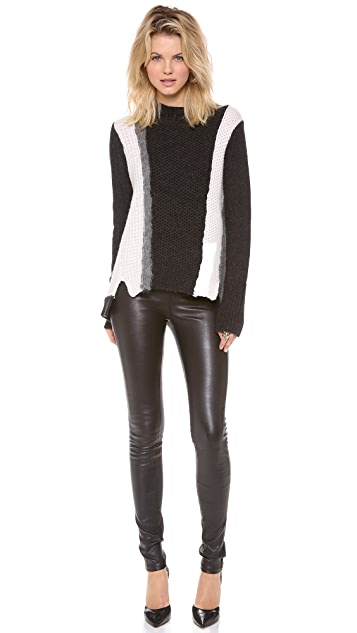 Rebecca Taylor Textured Colorblock Sweater