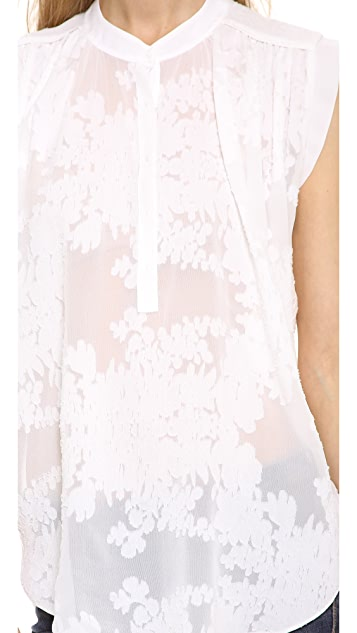 Rebecca Taylor Sleeveless Floral Blouse