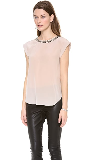 Rebecca Taylor Embellished Neck Open Back Top