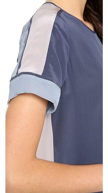 Rebecca Taylor Short Sleeve Silk Inset Tee