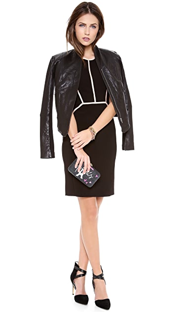 Rebecca Taylor Piped Cap Sleeve Dress