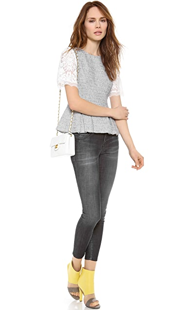 Rebecca Taylor Lace and Tweed Top