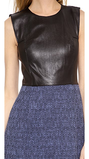 Rebecca Taylor Leather and Tweed Dress