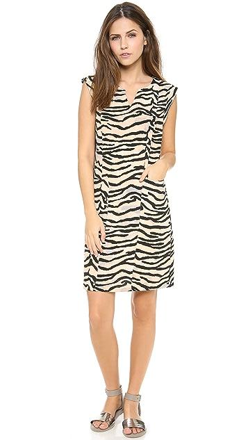 Rebecca Taylor Tiger Printed Slit Neck Shift Dress