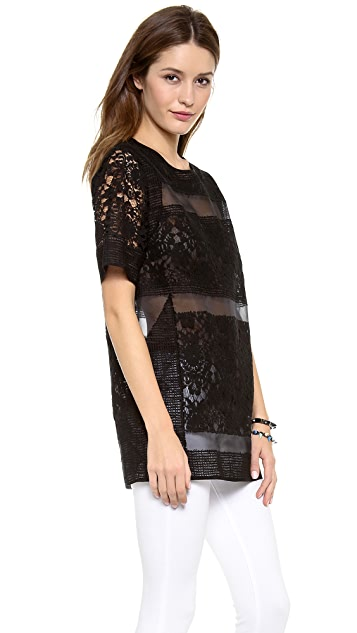 Rebecca Taylor Runway Brocade and Lace Tunic