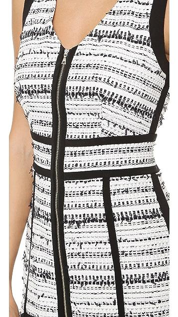 Rebecca Taylor Raffia Tweed V Neck Dress