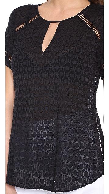 Rebecca Taylor Geo Clip Short Sleeve Top