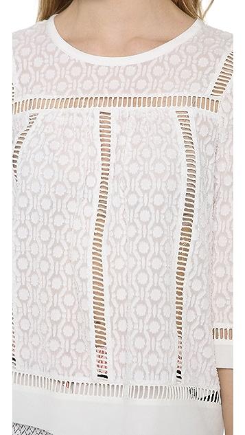 Rebecca Taylor Geo Clip Long Sleeve Top