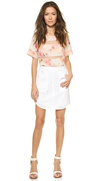 Rebecca Taylor Punch Denim Skirt