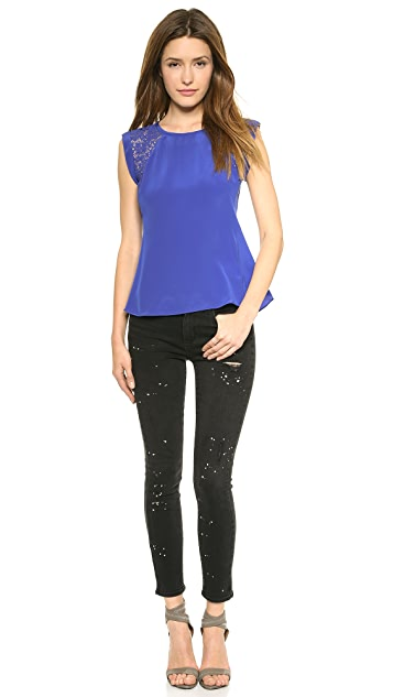 Rebecca Taylor Inset Lace Top